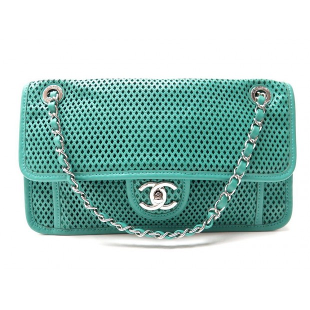 NEUF SAC A MAIN CHANEL A67652 UP IN THE AIR TIMELESS PERFORE CUIR VERT BAG 2800€