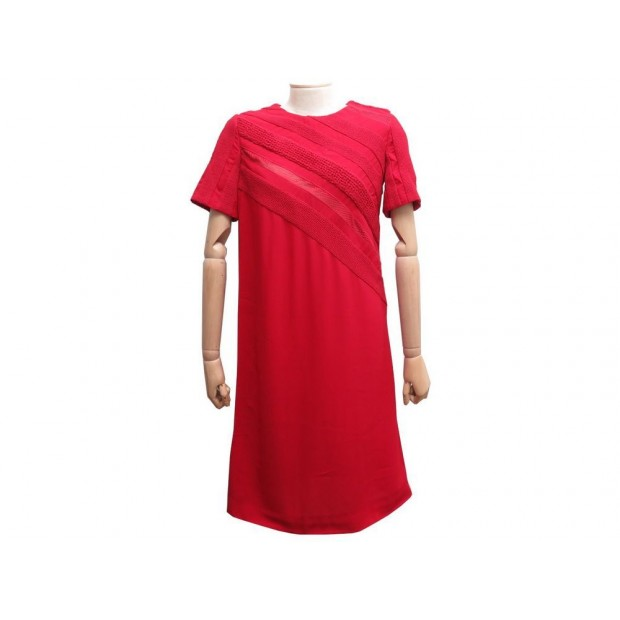 NEUF ROBE LOUIS VUITTON M 38 EN CREPE DE SOIE ROUGE FEMME RED SILK DRESS 3200€