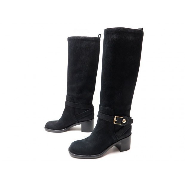 NEUF CHAUSSURES LOUIS VUITTON HUNTING 37 BOTTES CUIR NOIR SHOES BOOT 1350€