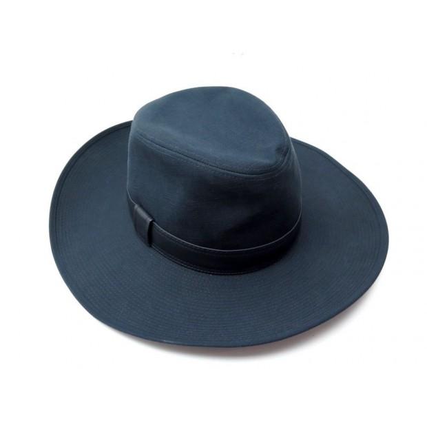 NEUF CHAPEAU HERMES TAILLE 57 EN COTON & LIN BLEU BLUE COTTON LINEN HAT 400€