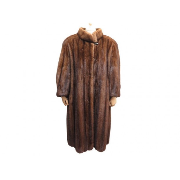 MANTEAU LONG MENDEL 48 XL FEMME EN FOURRURE DE VISON MARRON MINK FUR COAT