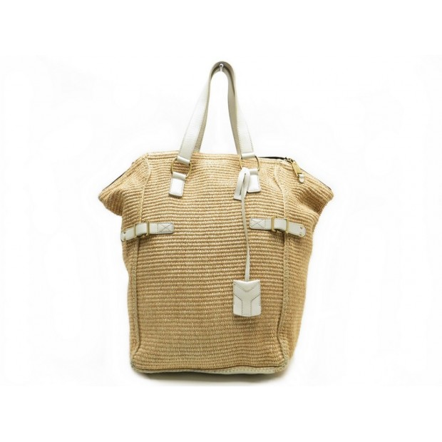SAC A MAIN YVES SAINT LAURENT DOWNTOWN 172459 CABAS RAPHIA BEIGE HAND BAG 1095€