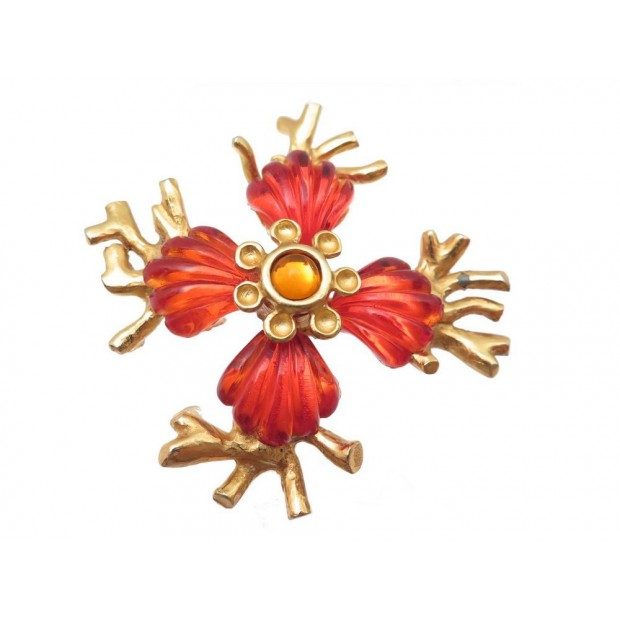 VINTAGE BROCHE CHRISTIAN LACROIX EN METAL DORE ET RESINE ORANGE BIJOU BROOSCH