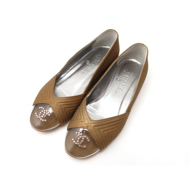 NEUF CHAUSSURES CHANEL G28417 36 LOGO CC STRASS BALLERINES CUIR DORE SHOES 570€