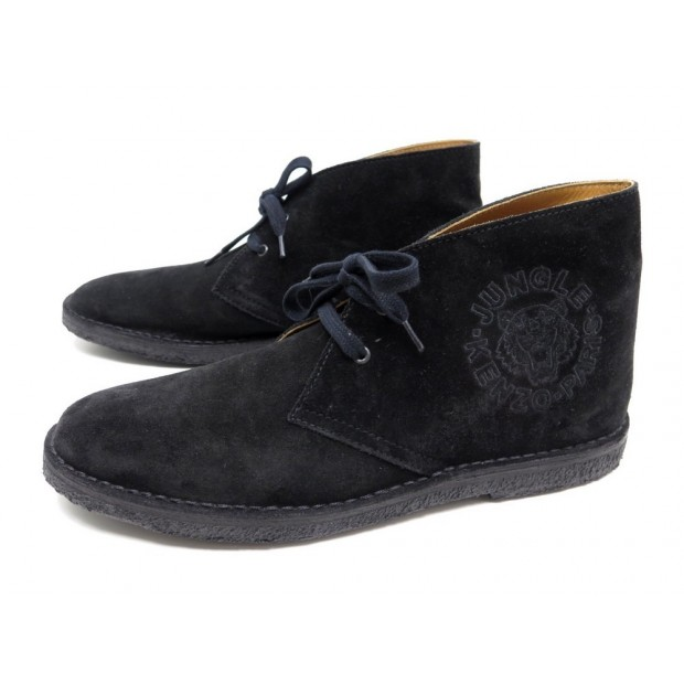 NEUF CHAUSSURES KENZO JUNGLE 11 45 DERBY CHUKKA DAIM NOIR SHOES BOOTS SUEDE 280€