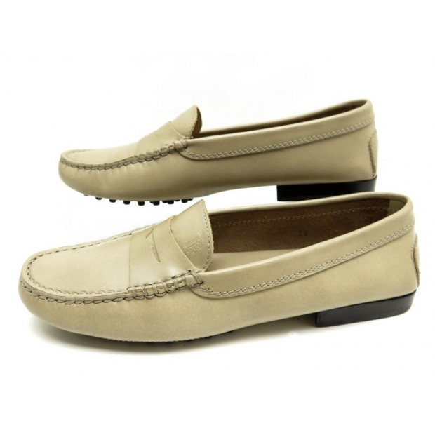 NEUF CHAUSSURES TOD'S GOMMINO 36 IT 37 FR MOCASSINS EN CUIR BEIGE SHOES 340€