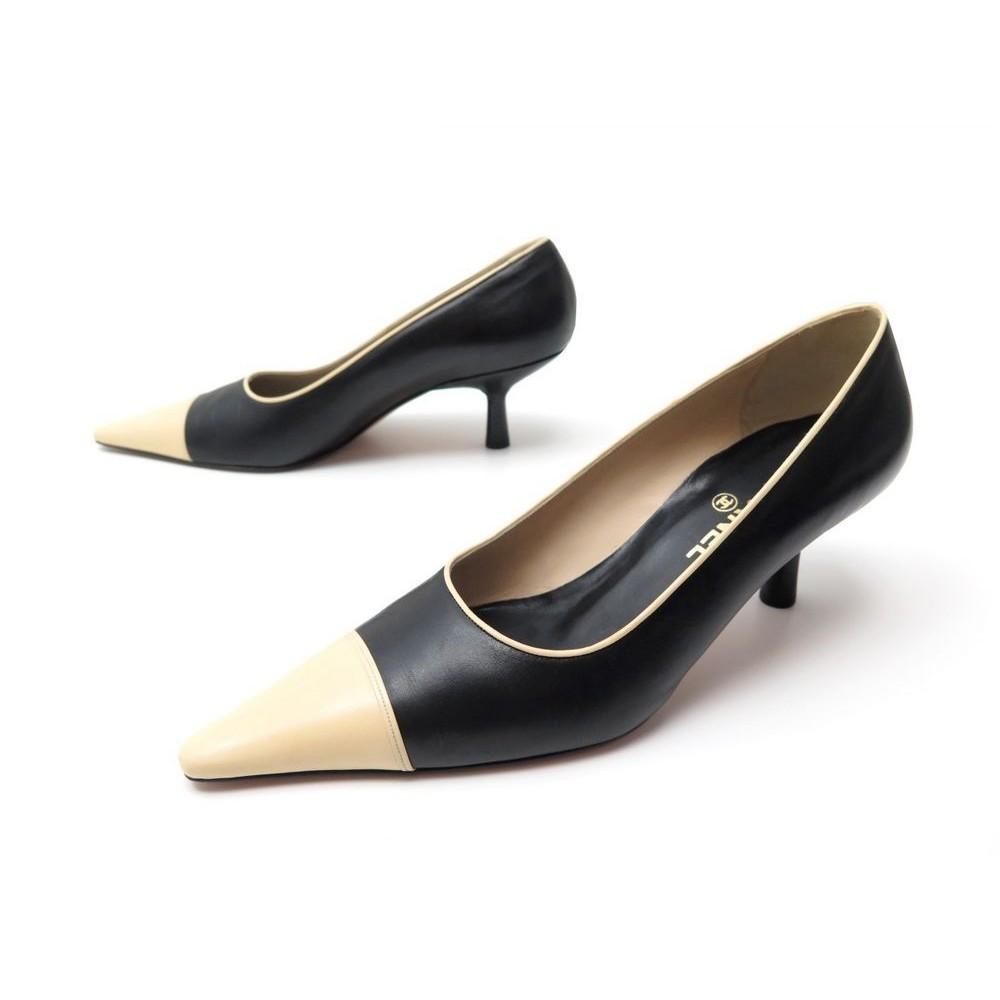 enfant site autorisé forme élégante chaussures chanel 40 escarpins cuir bicolore noir et