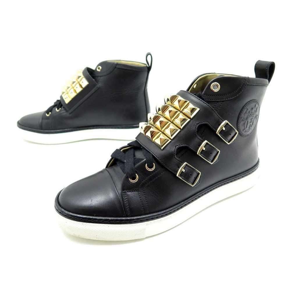 948ef45934 NEUF CHAUSSURES HERMES LENNOX 37 BASKETS MONTANTES CUIR NOIR SAC SNEAKERS  1640€. Loading zoom