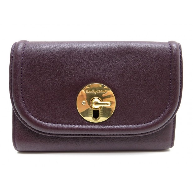 portefeuille see by chloe cuir violet boite 297f1ec8654