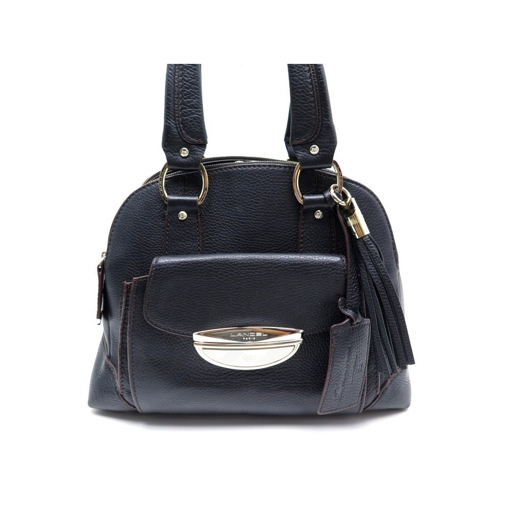 LANCEL MM ADJANI BLACK BAG PURSE EN HAND Loading A MAIN GRAINE SAC CM NOIR zoom 33 CUIR xESIqw44