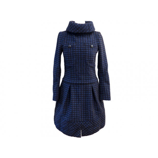 NEUF ROBE CHANEL FEMME 34 XS EN TWEED BLEU & NOIR WOOL BLUE BLACK DRESS 3800€