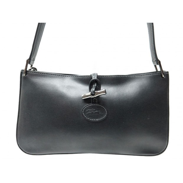 sac a main longchamp roseau cuir noir hand bag