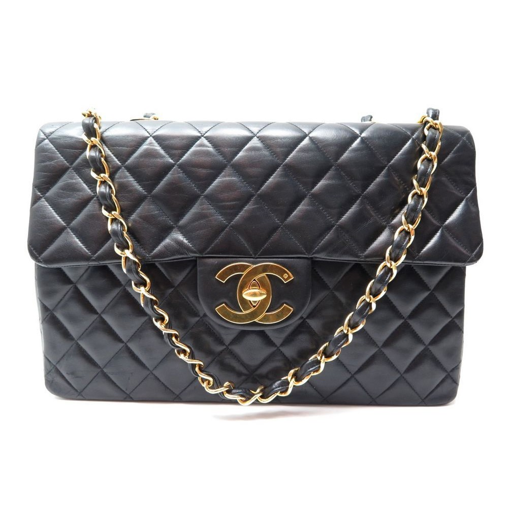 c1860559968 SAC A MAIN CHANEL TIMELESS JUMBO MAXI CLASSIQUE FLAP CUIR NOIR MATELASSE  5160€. Loading zoom