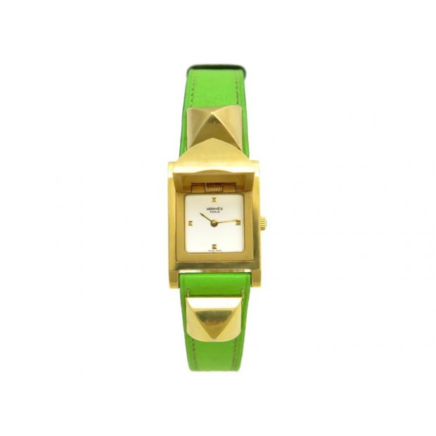 MONTRE HERMES MEDOR ME1.201 VERT ANIS 23 MM QUARTZ EN PLAQUE OR WATCH 3650€