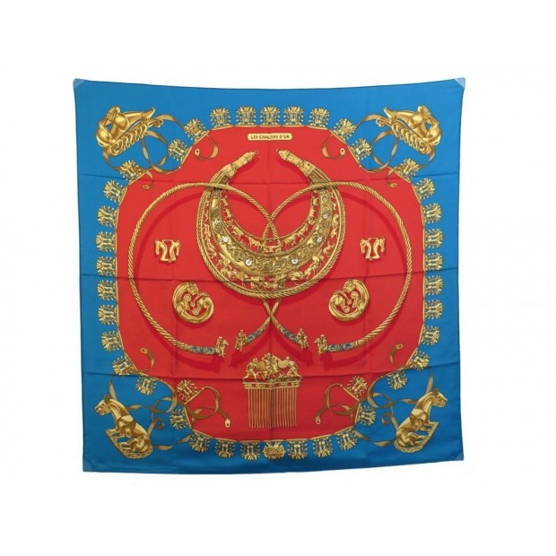 FOULARD HERMES LES CAVALIERS D OR RYBALTCHENKO CARRE SOIE ROUGE SILK SCARF 345€