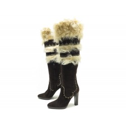 NEUF CHAUSSURES HERMES RAYA BOTTES 38 CUIR FOURRURE CHEVRE SAC BOOTS SHOES 1250€