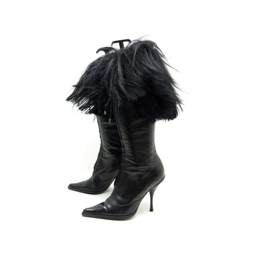 chaussures bottes a talons dior 39 en cuir fourrure 1ff16f04420