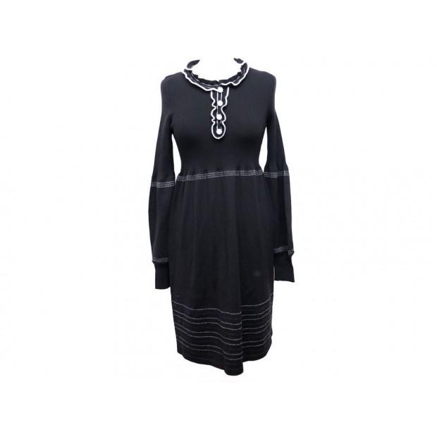 NEUF ROBE FENDI 36 38 S M CINTREE EN LAINE NOIR & BLANC BLACK WOOL DRESS 1500€