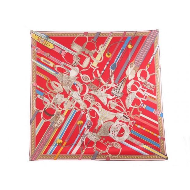 foulard hermes concours d etriers en soie rouge c54938a8e4b