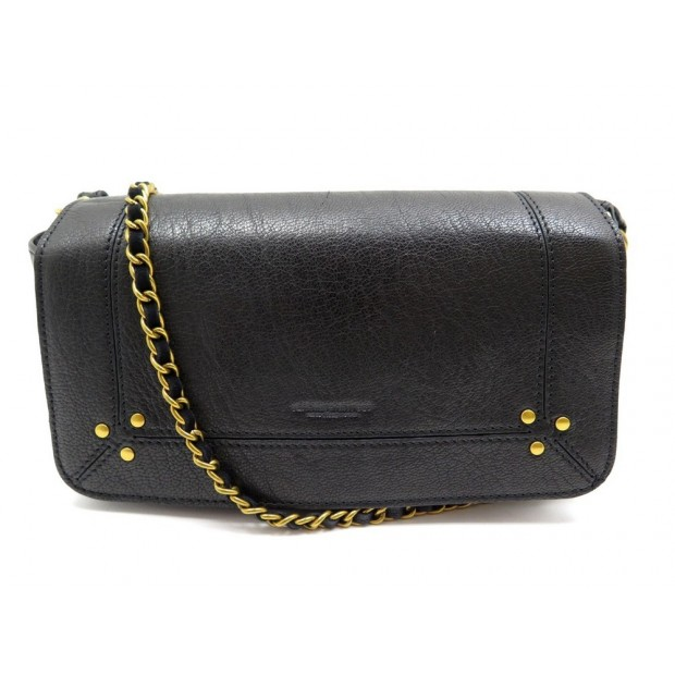 NEUF SAC A MAIN JEROME DREYFUSS BOB BANDOULIERE CUIR NOIR BAG PURSE DUSTBAG 365€