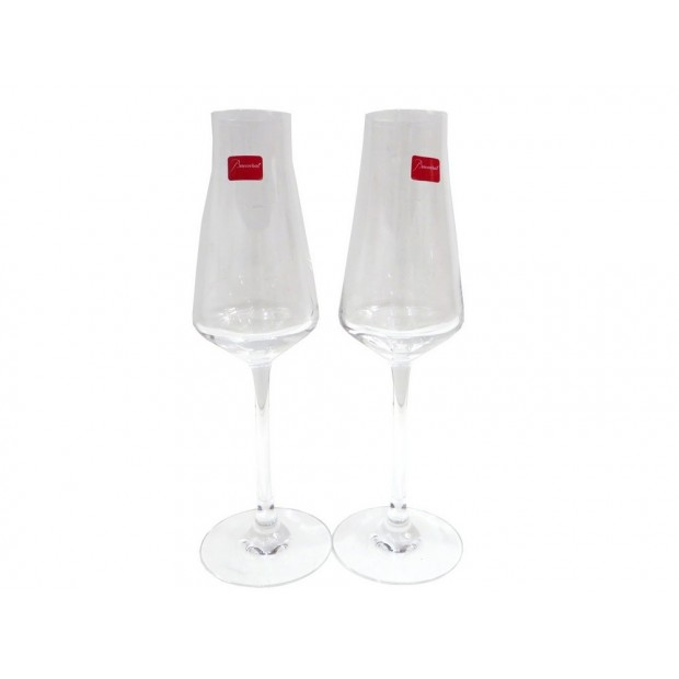 NEUF 2 FLUTES A CHAMPAGNE BACCARAT CHATEAU EN CRISTAL CLAIR + BOITE GLASSES 180€