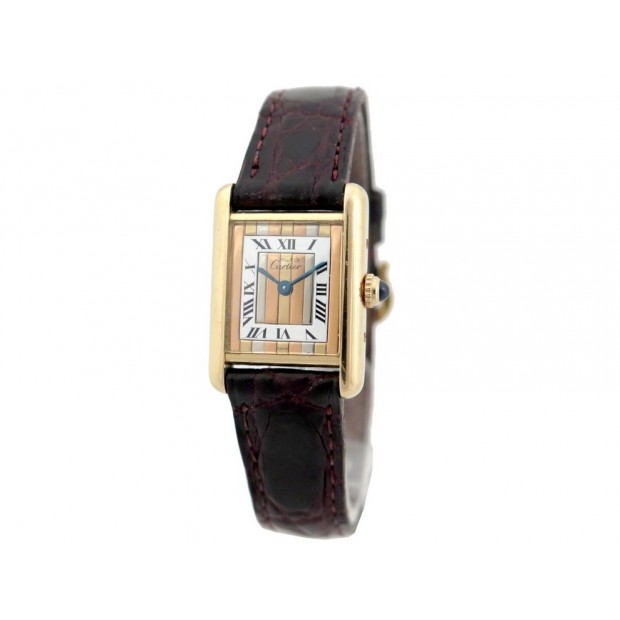 VINTAGE MONTRE CARTIER TANK 1613 EN VERMEIL 20MM QUARTZ FEMME CADRAN 3 ORS WATCH