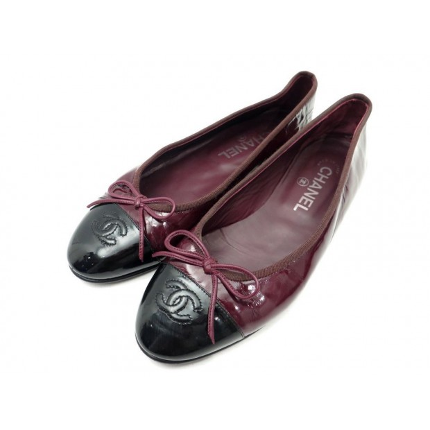 CHAUSSURES BALLERINES CHANEL LOGO CC 37 EN CUIR VERNI BORDEAUX FLAT SHOES 540€