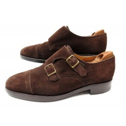 CHAUSSURES JOHN LOBB WILLIAM 7E 41 MOCASSINS A BOUCLE DAIM MARRON SHOES 1225€