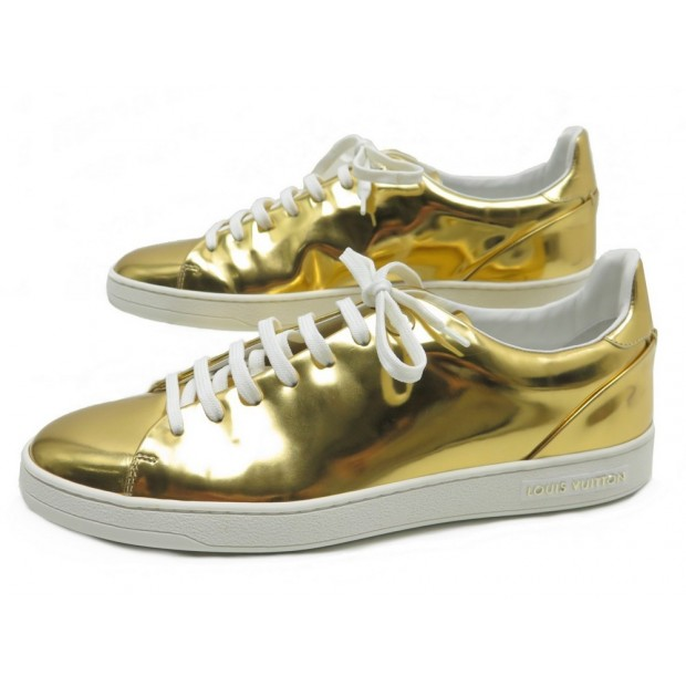 a53428acefc NEUF CHAUSSURES LOUIS VUITTON FRONTROW 40.5 BASKETS EN CUIR DORE SNEAKERS  590€