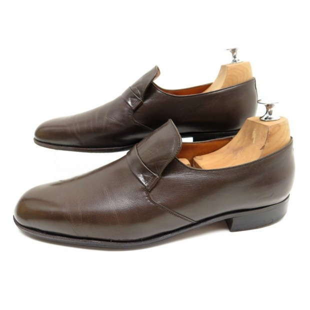VINTAGE CHAUSSURES JM WESTON 8D 42 MOCASSINS EN CUIR CHEVREAU MARRON SHOES 740€