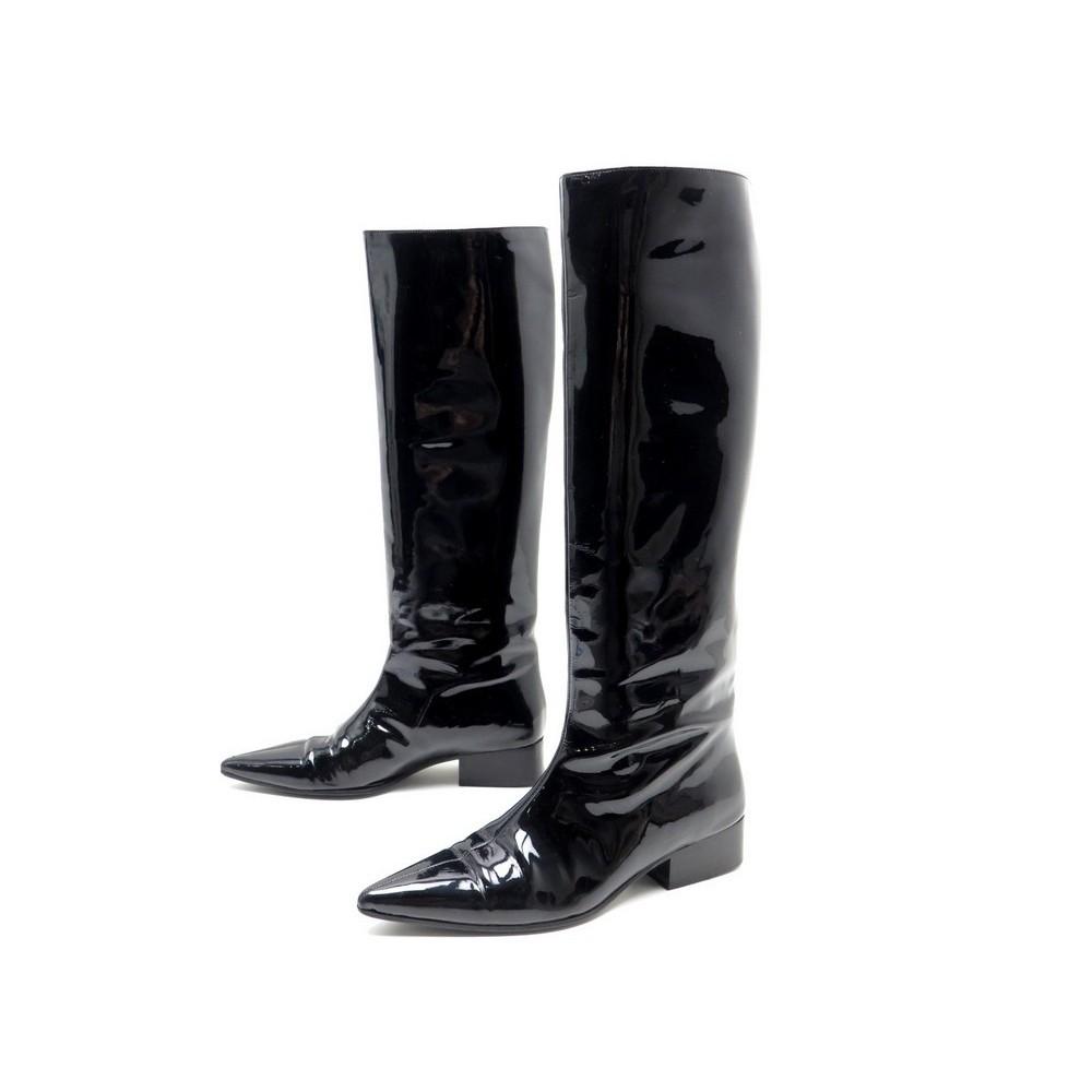 chaussures gucci bottes 37.5 en cuir verni noir black d8fafc38d29