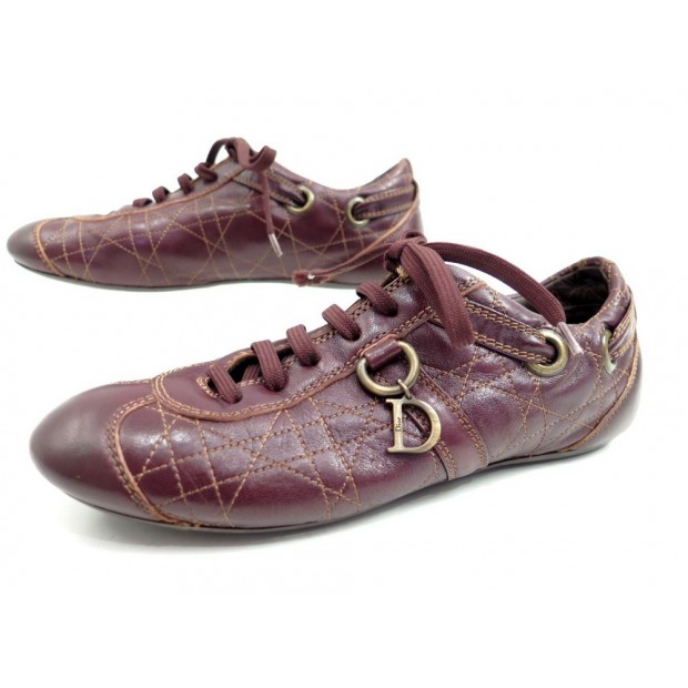 CHAUSSURES CHRISTIAN DIOR CANNAGE SPORT 38.5 BASKET EN CUIR BORDEAUX SHOES 590€