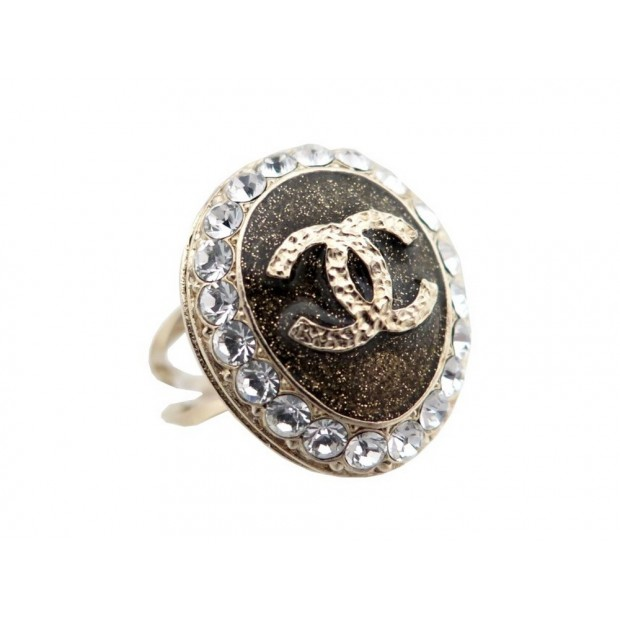 NEUF BAGUE SECRETE CHANEL COCO LOVES YOU 54 METAL DORE STRASS + BOITE RING 650€