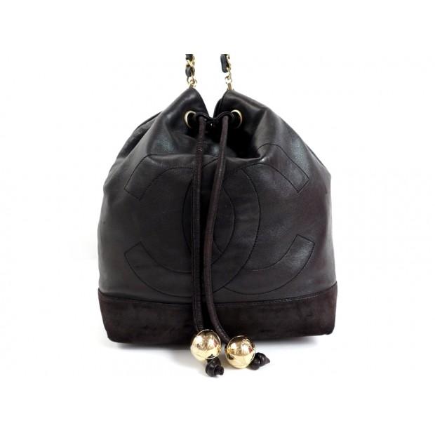 SAC A MAIN CHANEL BESACE SEAU EN CUIR MARRON BANDOULIERE HAND BAG PURSE 2500€