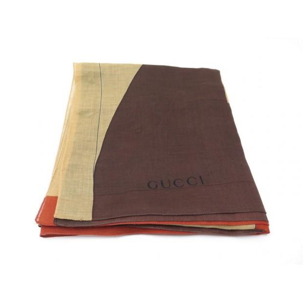 nouvelles images de ordre meilleure sélection de 2019 chale gucci etole foulard en coton marron jaune rouge