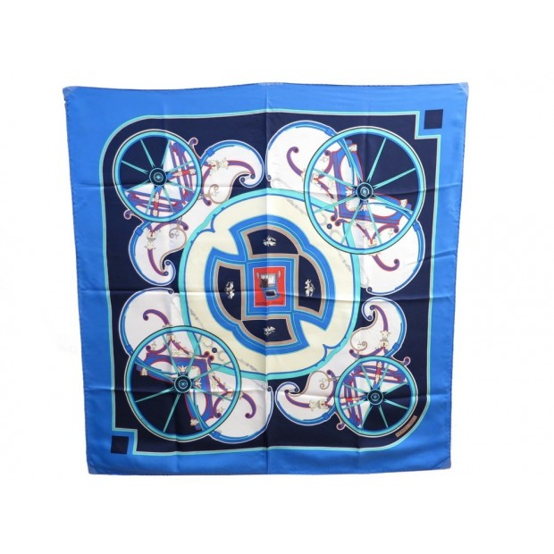 VINTAGE FOULARD HERMES WASHINGTON'S CARRIAGE LATHAM CARRE SOIE BLEU SCARF 345€