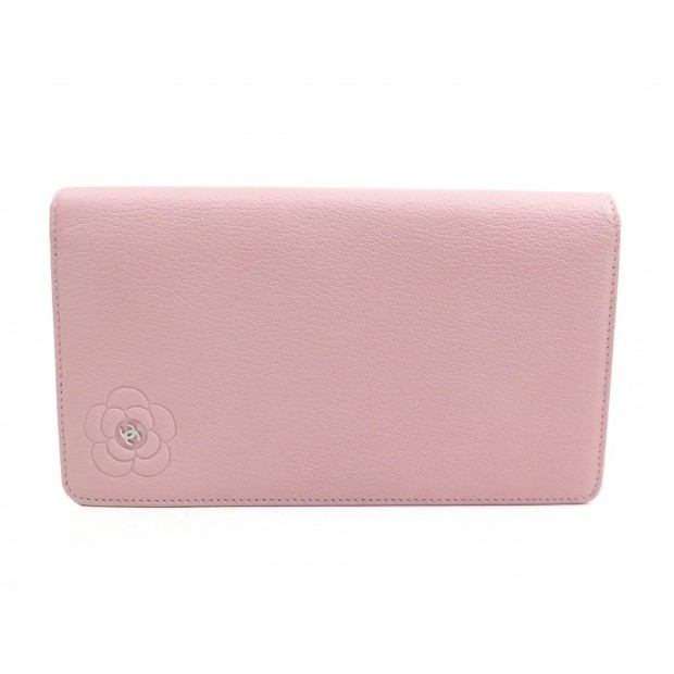 NEUF PORTEFEUILLE CHANEL CAMELIA EN CUIR ROSE MONNAIE PINK LEATHER BILLFOLD 765€