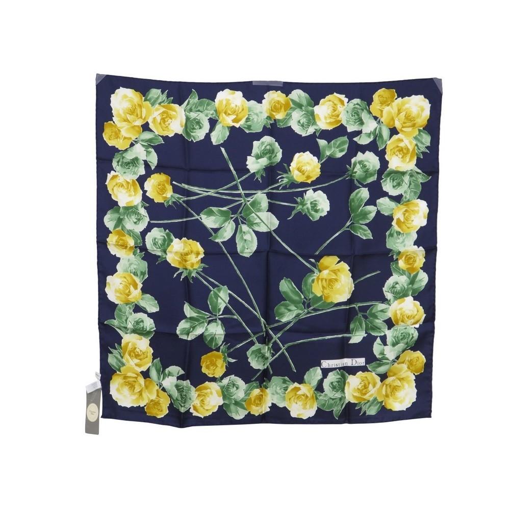 e2061d9c442 foulard christian dior fleurs soie bleue marine