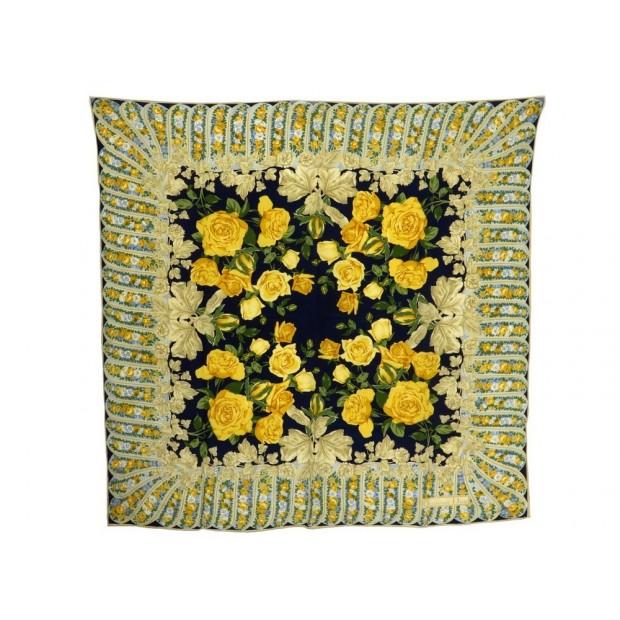 f409f4087e99 foulard christian dior fleurs roses en soie jaune
