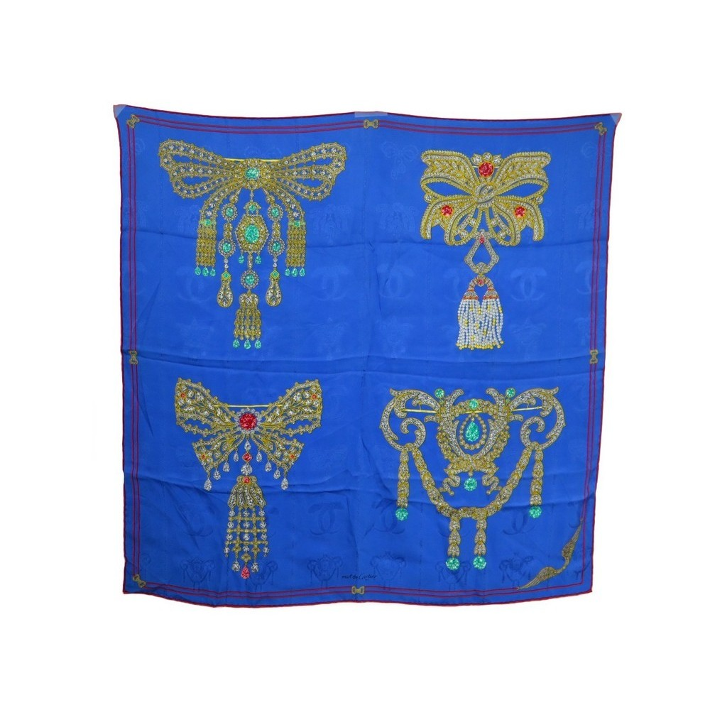 4df4acf3c23 foulard must de cartier broches bijoux en soie bleu