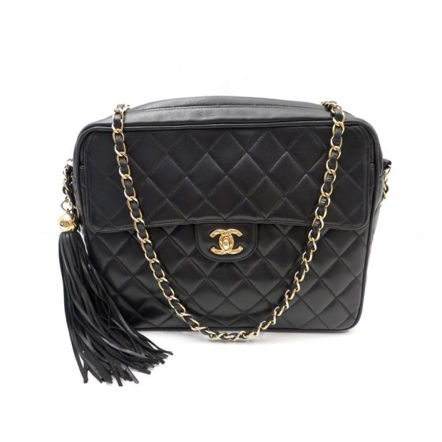 SAC A MAIN CHANEL CAMERA TIMELESS BANDOULIERE EN CUIR MATELASSE NOIR PURSE 3600€