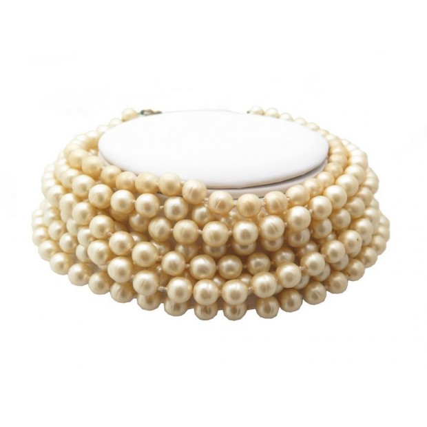 87358b3029e collier de chien chanel ras du cou en perles baroques