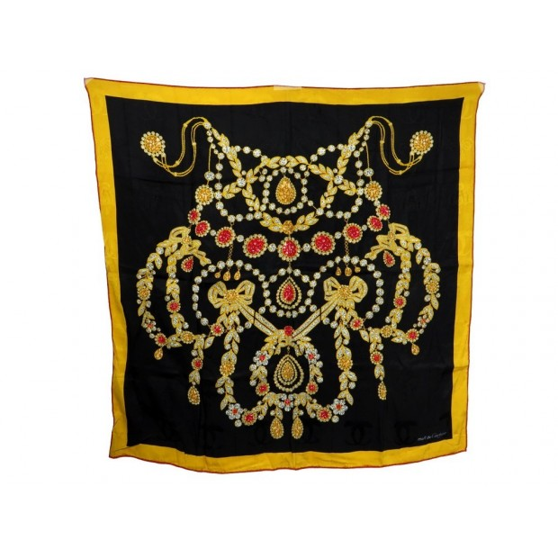 foulard cartier bijoux en soie noir jaune carre 90 cm d6fd00d5c90