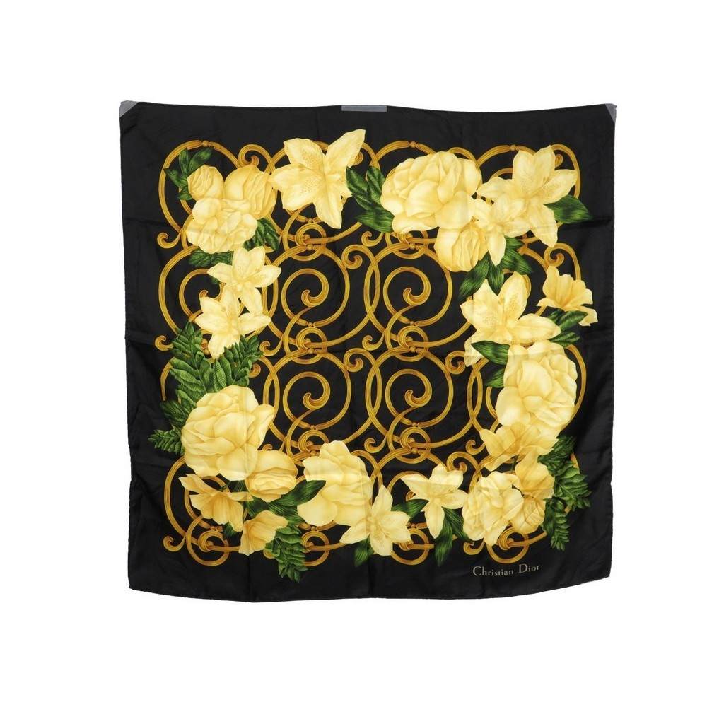 ba8189ee877 foulard christian dior roses en soie noir carre 90 cm