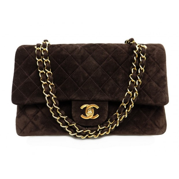 19cfe3489e9c86 sac a main chanel timeless 26 cm daim marron