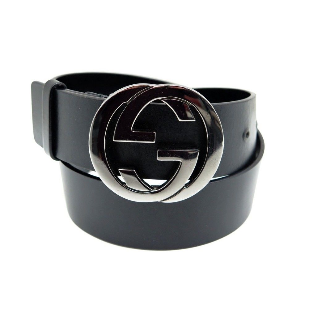 CEINTURE GUCCI LOGO DOUBLE G 2194-1238 T 70 EN CUIR NOIR FEMME LEATHER  BELT. Loading zoom 92c49994e8f