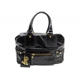 NEUF SAC A MAIN DOLCE & GABBANA EN CUIR VERNI NOIR BLACK HAND BAG PURSE 890€