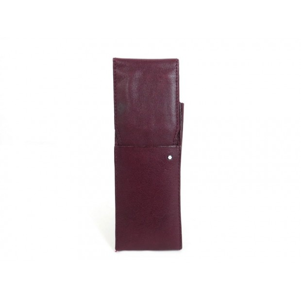 VINTAGE ETUI MONTBLANC 2 STYLOS EN CUIR BORDEAUX BURGUNDY LEATHER PEN CASE 140€