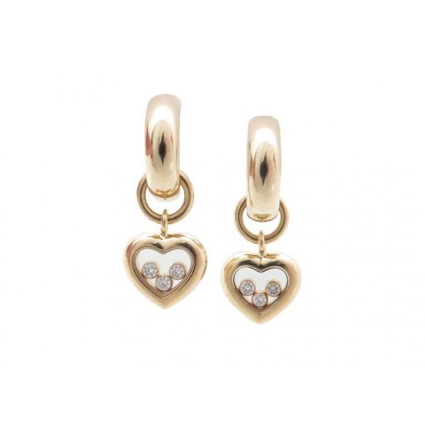 BOUCLES D'OREILLES CHOPARD HAPPY DIAMONDS COEUR EN OR 3 DIAMANTS PENDENTIF 4330€