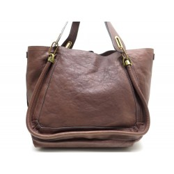 NEUF SAC A MAIN CHLOE PARATY LARGE GM EN CUIR MARRON BROWN HAND BAG PURSE 1610€